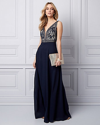 Embellished Chiffon Deep V-Neck Gown