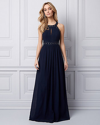 Embellished Chiffon Halter Gown