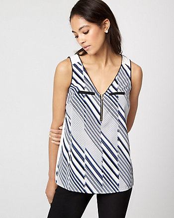 Stripe Crêpe de Chine & Knit Zip Front Top