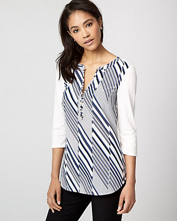 Stripe Crêpe de Chine & Knit Henley Top