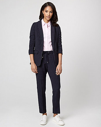 Stripe Viscose Blend Shawl Collar Blazer