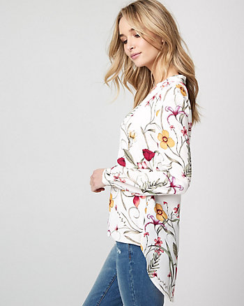 Floral Print Crêpe de Chine High-Low Blouse