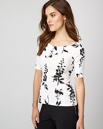 Floral Print Jersey Knit Boat Neck Top
