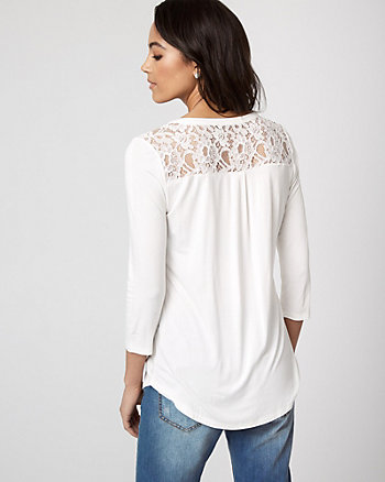 Lace & Viscose Blend Henley Top