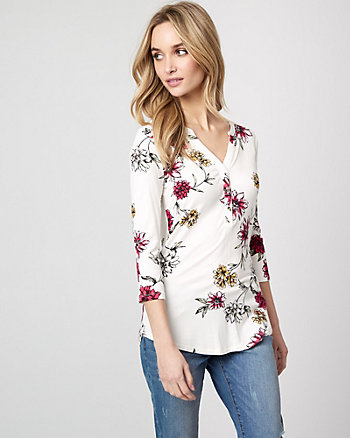 Floral Lace & Viscose Blend Henley Top
