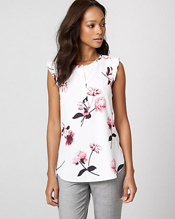Floral Print Crêpe de Chine & Knit Top