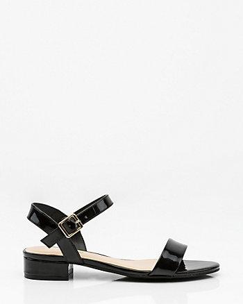Patent Block Heel Sandal