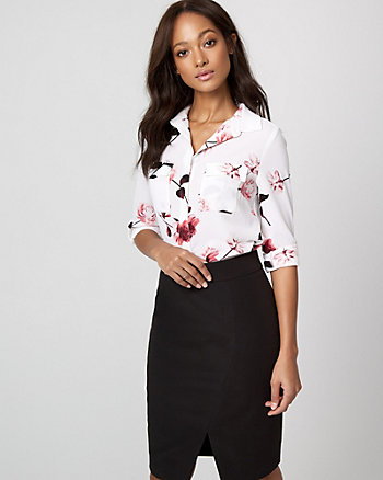 Floral Crêpe de Chine Button-Front Blouse