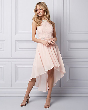 Lace & Chiffon High-Low Party Dress