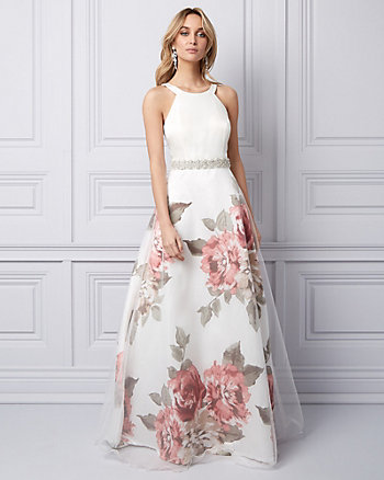 Floral Print Organza Gown