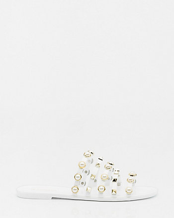Pearl Embellished Strappy Jelly Slide