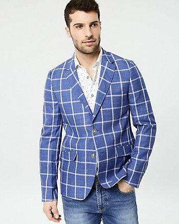 Windowpane Linen Blend Slim Fit Blazer