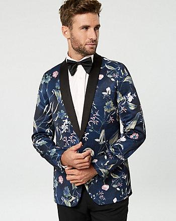 Veston à motif floral de coupe ajustée