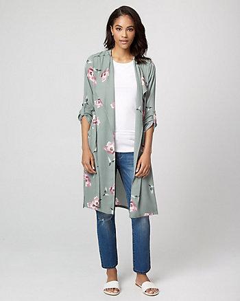 Floral Print Crêpe de Chine Robe Jacket