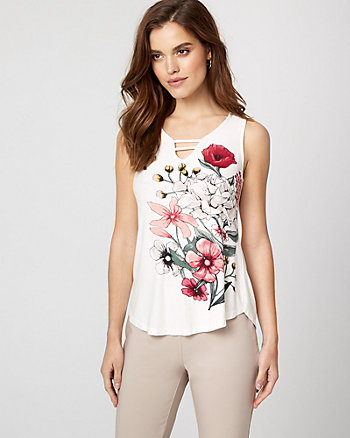 Floral Print Textured Knit V-Neck Top