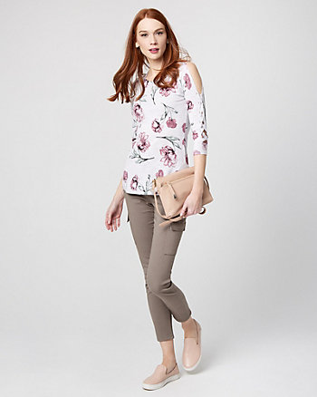 Floral Cotton Blend Lace-Up Sleeve Sweater