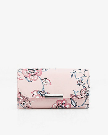 Floral Print Wallet with Crossbody Strap
