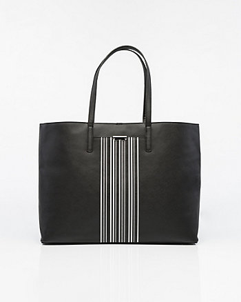 Stripe Saffiano Leather-Like Tote Bag