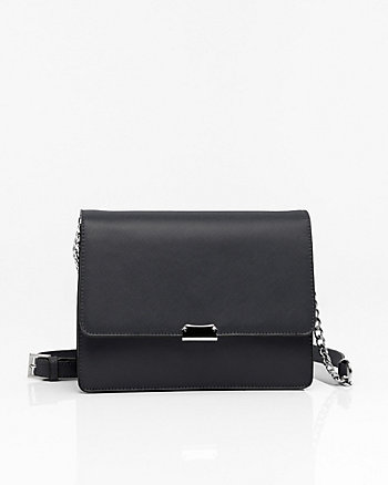 Saffiano Leather-Like Flapover Clutch