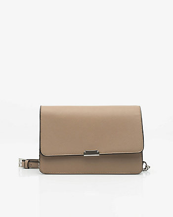 Saffiano Faux Leather Flapover Clutch