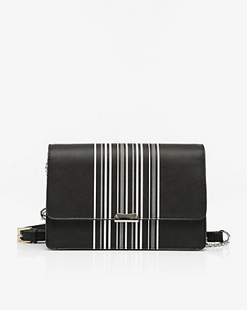 Stripe Leather-Like Flapover Clutch