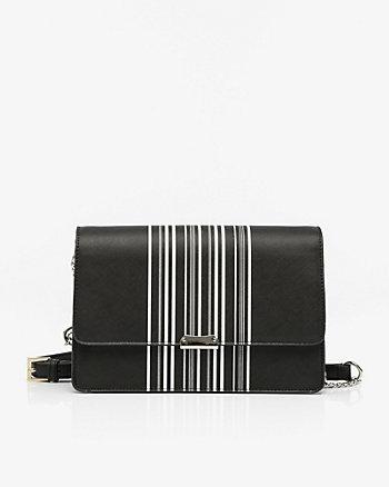 Stripe Leather-Like Flapover Clutch