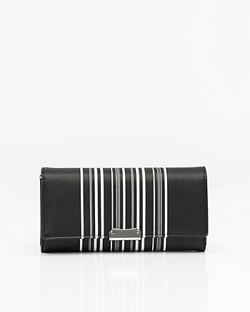 Stripe Wallet with Crossbody Strap