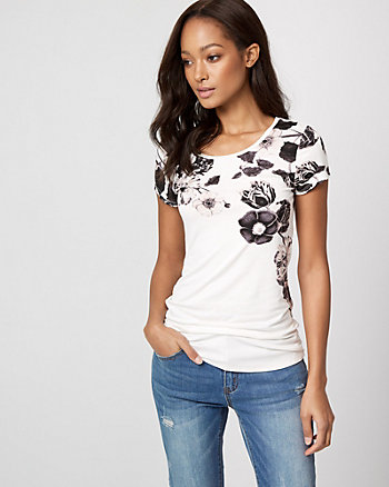 Floral Print Jersey Crew Neck T-Shirt