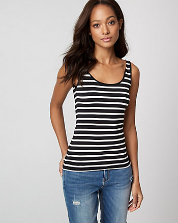 Stripe Knit Scoop Neck Tank