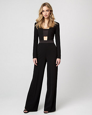 Knit Crêpe Cutout Jumpsuit