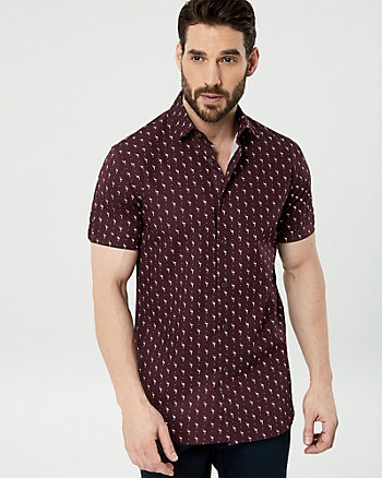 Flamingo Print Cotton Slim Fit Shirt