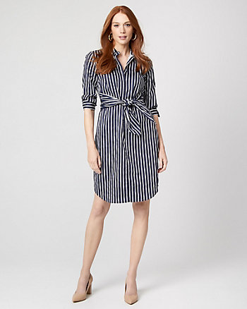 Stripe Cotton Poplin Tie Front Shirtdress