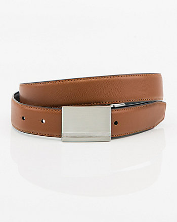 Reversible Faux Leather Plaque Belt