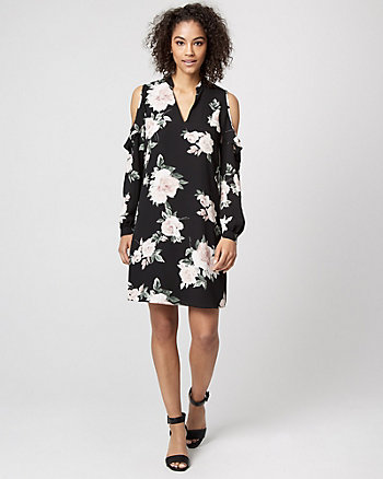 Floral Cold Shoulder Ruffle Dress