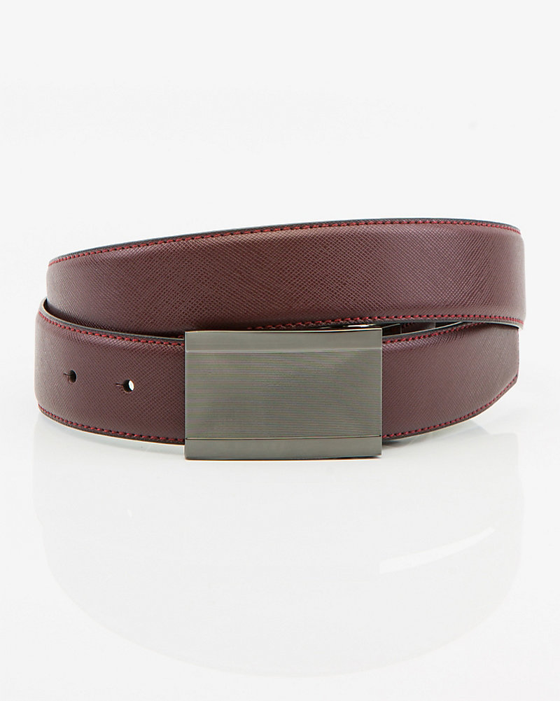 1a48c511618 Reversible Leather-Like Plaque Belt