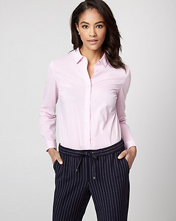Stripe Stretch Poplin Button-Front Bodysuit