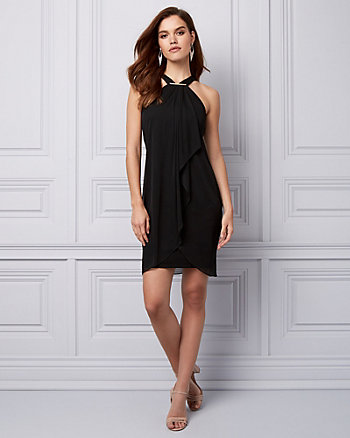 Chiffon & Knit Halter Cocktail Dress