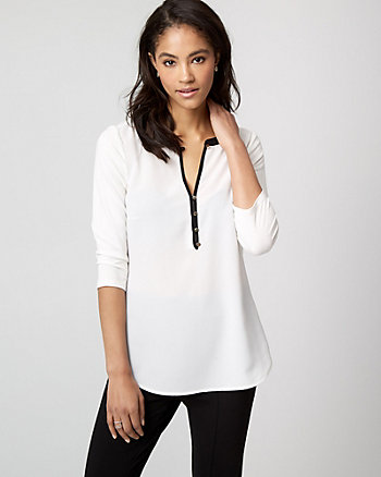 Crêpe de Chine & Knit Henley Top