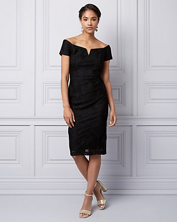Lace Off-the-Shoulder Cocktail Dress