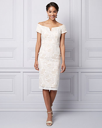Lace Off-the-Shoulder Cocktail Dress