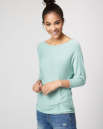 Viscose Blend Boat Neck Twist Sweater