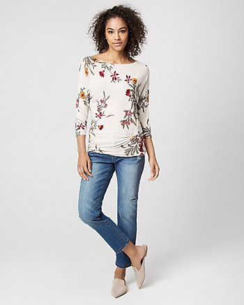 Floral Viscose Blend Boat Neck Twist Sweater