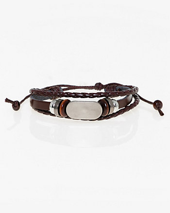 Faux Leather Beaded Bracelet