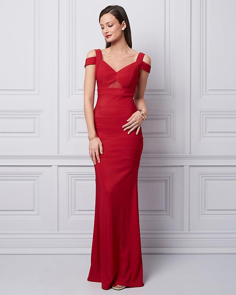 Ottoman Knit Cold Shoulder Gown  dd5a72b92