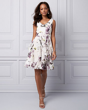 Floral Print Chiffon Ruffle Cocktail Dress