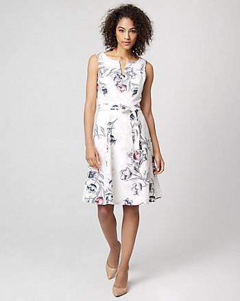Floral Print Stretch Twill Fit & Flare Dress