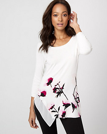 Floral Viscose Blend Asymmetrical Sweater