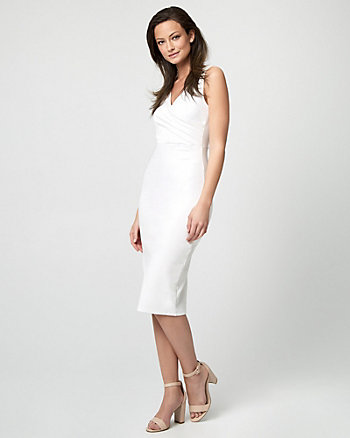 Ponte Pleated Sheath Dress