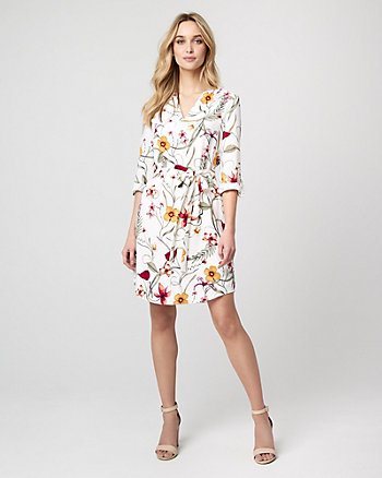Floral Print Crêpe de Chine Shirtdress