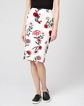 Floral Print Ponte Knit Pencil Skirt